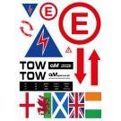 AMSport Pre-Cut Decal Scrutineer Sticker Sheet (Safety Extinguisher & Electrical Cut Off)